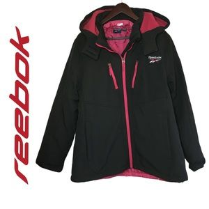 Reebok Double-Lined Women's Winter Jacket Black Pop Coloured Coat Size XL